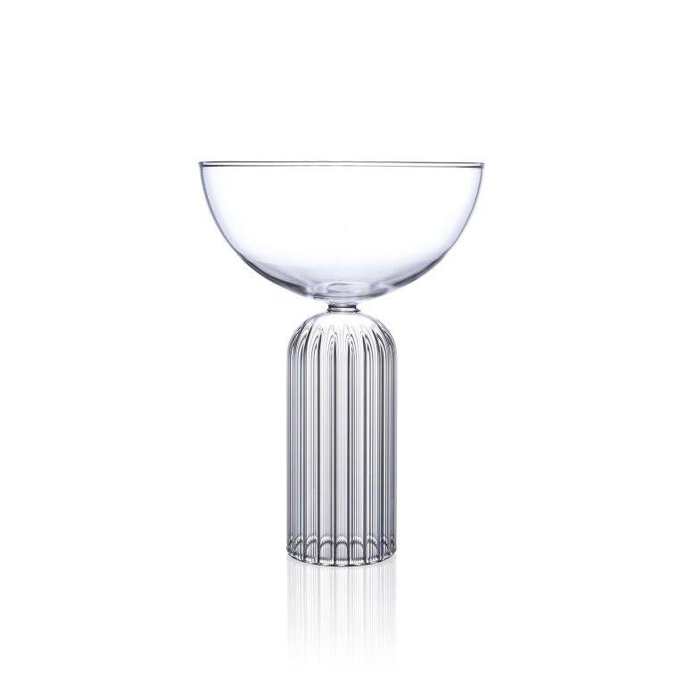 Modern EU Clients Pair of Czech Contemporary May Champagne Coupe Glasses, in Stock For Sale