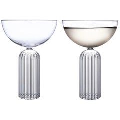 EU Clients Pair of Czech Contemporary May Champagne Coupe Glasses, in Stock