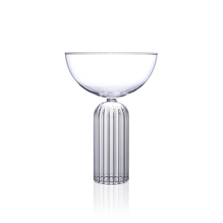 May champagne coupe glasses, set of two  A pair of Czech contemporary glass handcrafted is the perfect modern champagne glass.   The May Collection is inspired by the lightness of the early summer month of May. This contemporary collection with a