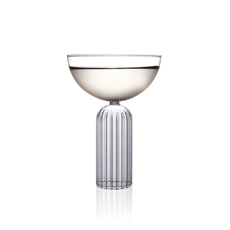 Modern Pair of Czech Contemporary May Champagne Coupe Glasses Handmade, in Stock For Sale