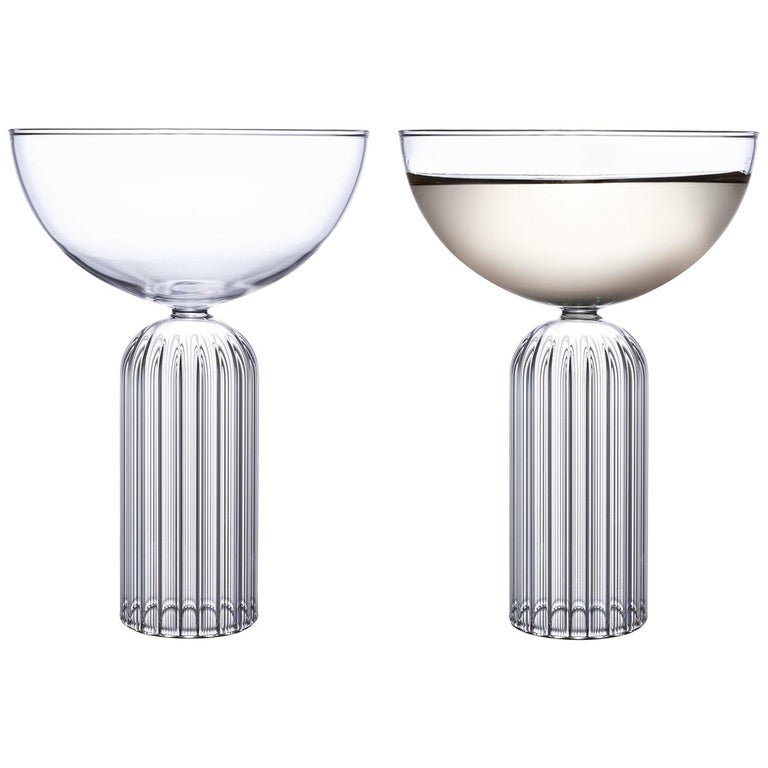 Pair of Czech Contemporary May Champagne Coupe Glasses Handmade, in Stock For Sale