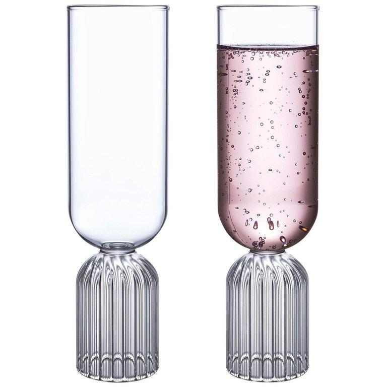 EU Clients Pair of Czech Contemporary May Champagne Flute Glasses, in Stock For Sale