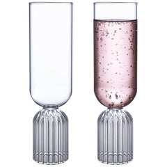 Pair of Czech Contemporary May Champagne Flute Glasses Handmade, in Stock