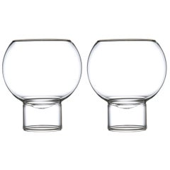 Pair of Czech Contemporary Tulip Low Small Wine Glasses Handmade, in Stock