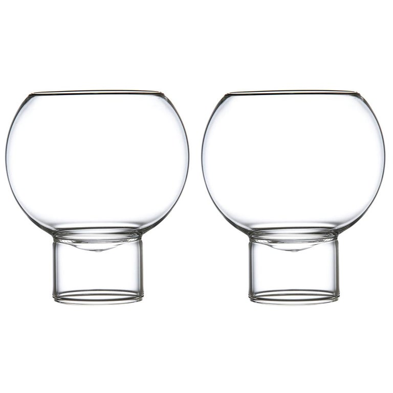 Pair of Czech Contemporary Tulip Low Small Wine Glasses Handmade, in Stock For Sale