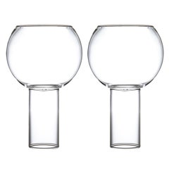 Pair of Czech Contemporary Tulip Tall Large Wine Glasses Handmade, in Stock