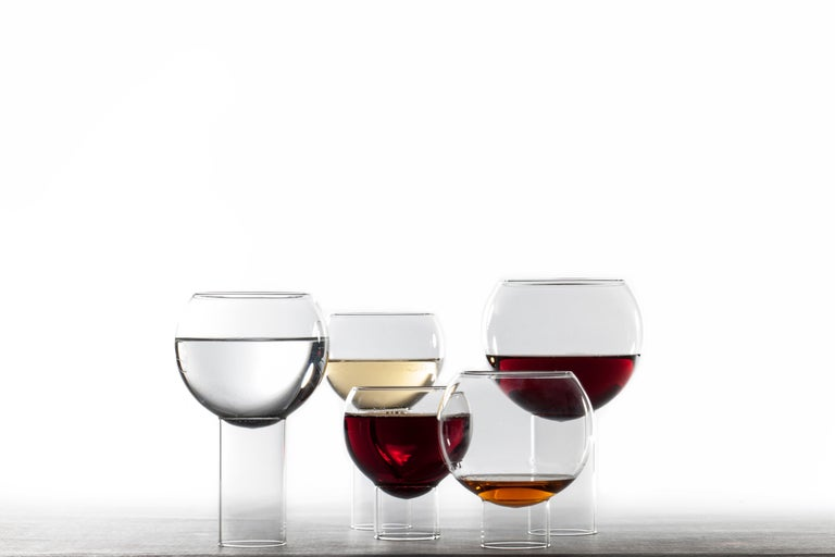 Hand-Crafted Pair of Czech Contemporary Tulip Tall Small Wine Glasses Handmade, in Stock For Sale