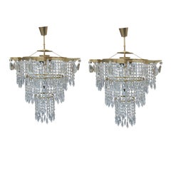 Pair of Czechoslovak Crystal Chandeliers, 1960s