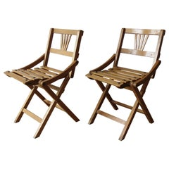 Pair of Czechoslovakia Vintage Folding Child Chairs 1940s Sfinx Filakova