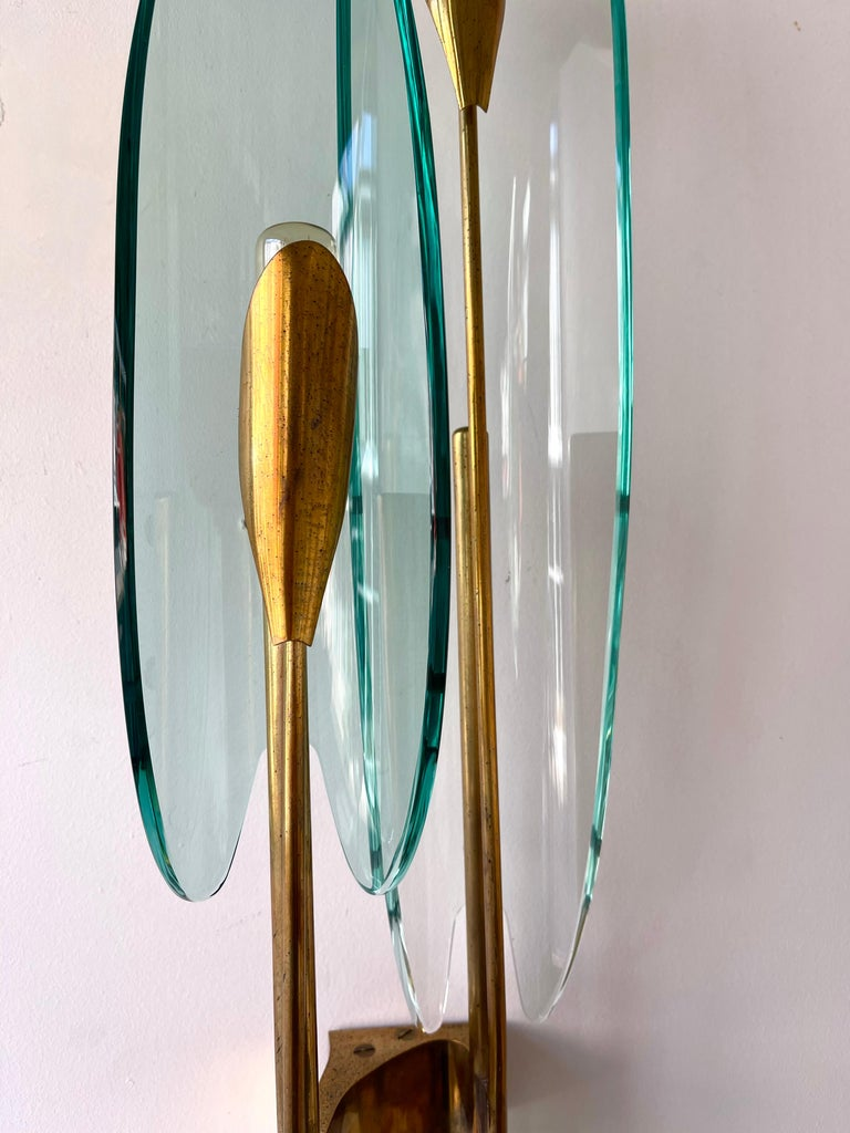 Pair of Dahlia Sconces by Max Ingrand for Fontana Arte, Italy, 1950s For Sale 5