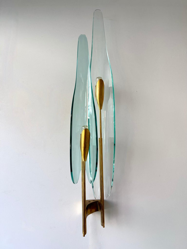 Pair of Dahlia Sconces by Max Ingrand for Fontana Arte, Italy, 1950s For Sale 8