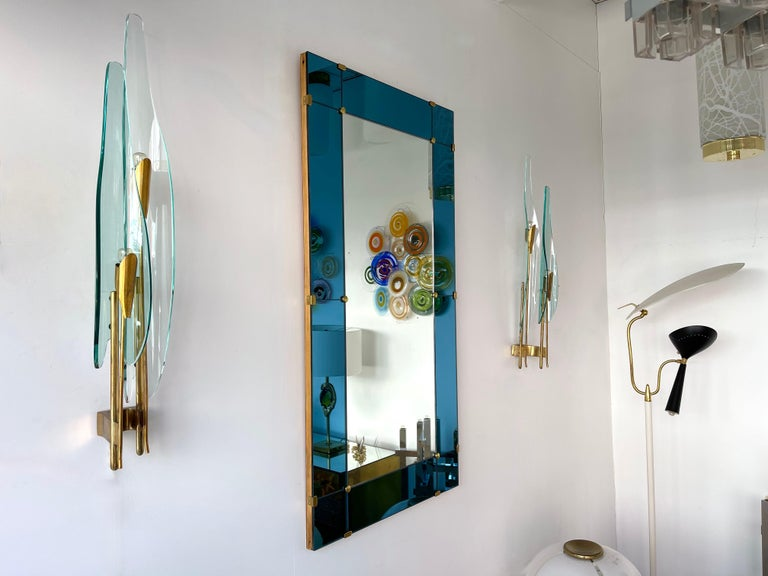 Mid-Century Modern Pair of Dahlia Sconces by Max Ingrand for Fontana Arte, Italy, 1950s For Sale