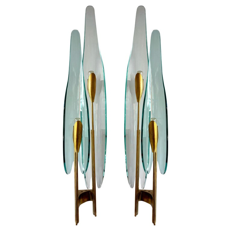 Pair of Dahlia Sconces by Max Ingrand for Fontana Arte, Italy, 1950s For Sale