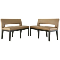 Pair of Dakota Jackson Leather Dining Banquette Benches