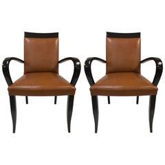 Pair of Dakota Jackson Leather Side Chairs