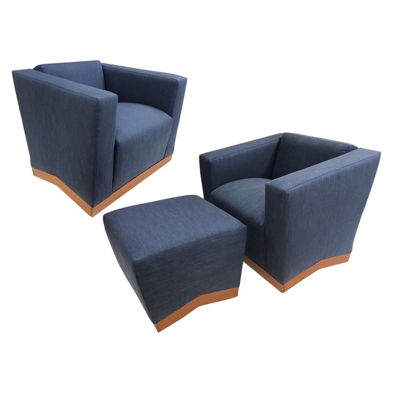 Pair of Dakota Jackson Lounge Chairs with Ottoman