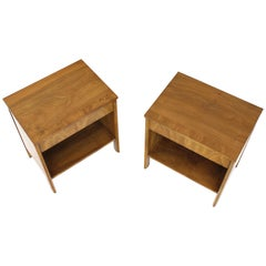 Pair of Dale Ford Widdicomb Walnut Banded Top Nightstands End Tables