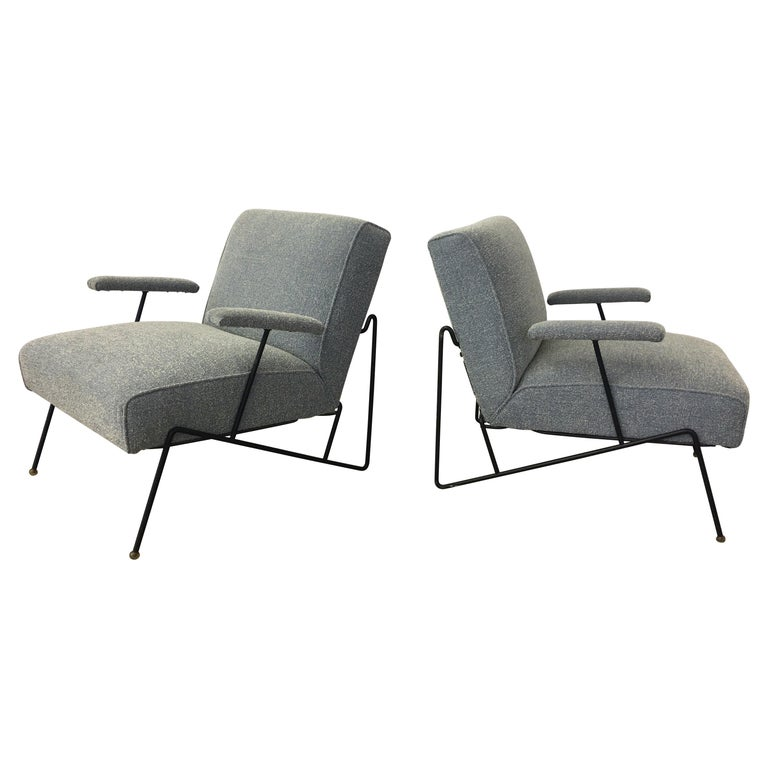 Pair of Dan Johnson Lounge Chairs for Pacific Iron For Sale