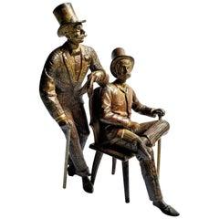 Pair of Dandies, Austrian Jugenstil, Vienna Bronze Sculpture, circa 1900