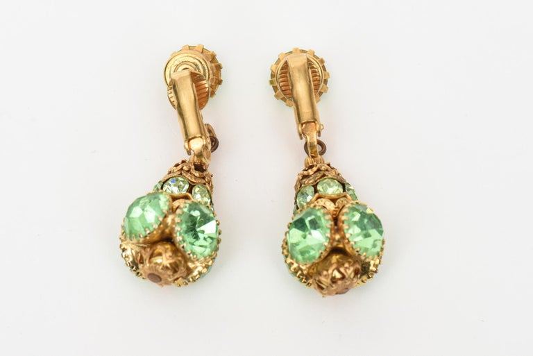 Women's Pair of Dangle Clip on Glass and Gold Plated Earrings  For Sale