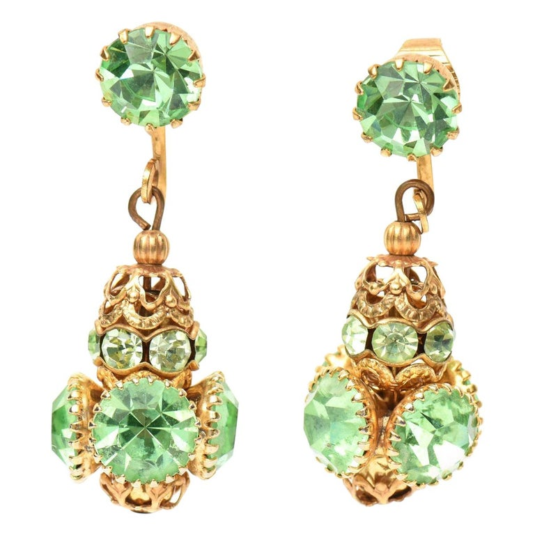 Pair of Dangle Clip on Glass and Gold Plated Earrings  For Sale