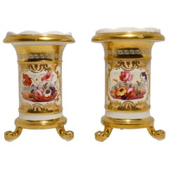 Pair of Daniel Porcelain Spill Vases, Rich Gold and Flowers #1127, circa 1830