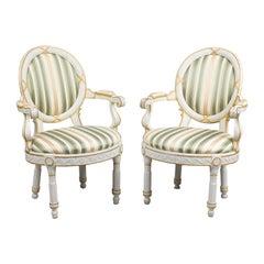 Pair of Danish 18th Century Neoclassical White Painted Armchairs