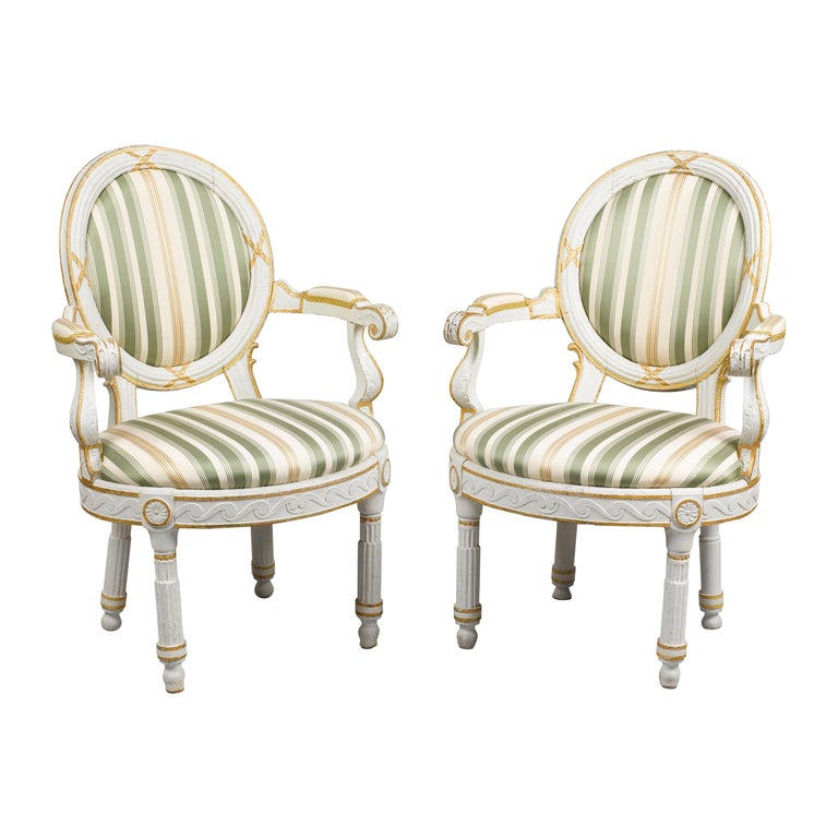 Pair of Danish 18th Century Neoclassical White Painted Armchairs For Sale