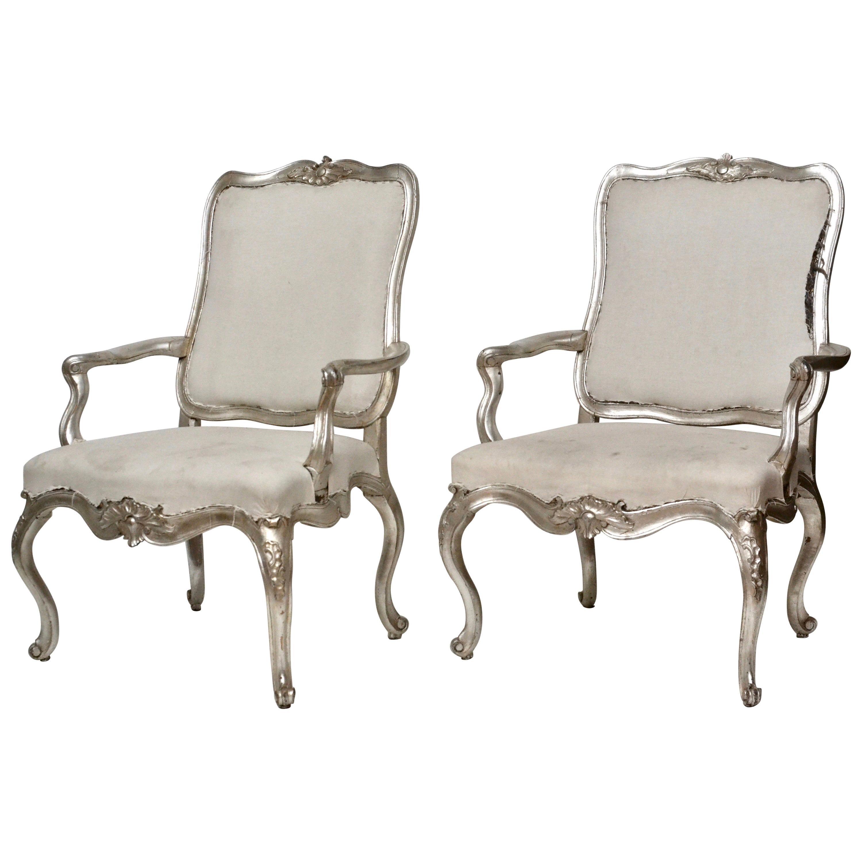 Pair of Danish 18th Century Rococo Armchairs