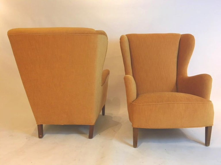 Scandinavian Modern Pair of Danish 1930s-1940s Wing Chairs For Sale