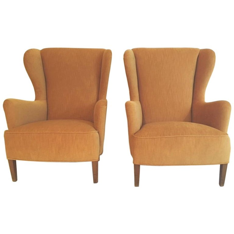 Pair of Danish 1930s-1940s Wing Chairs For Sale
