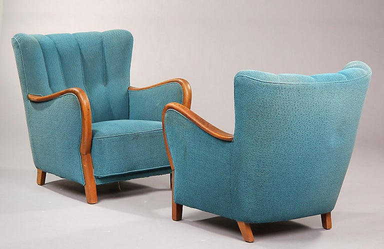 Pair of Danish 1940s Armchairs In Good Condition For Sale In Hudson, NY