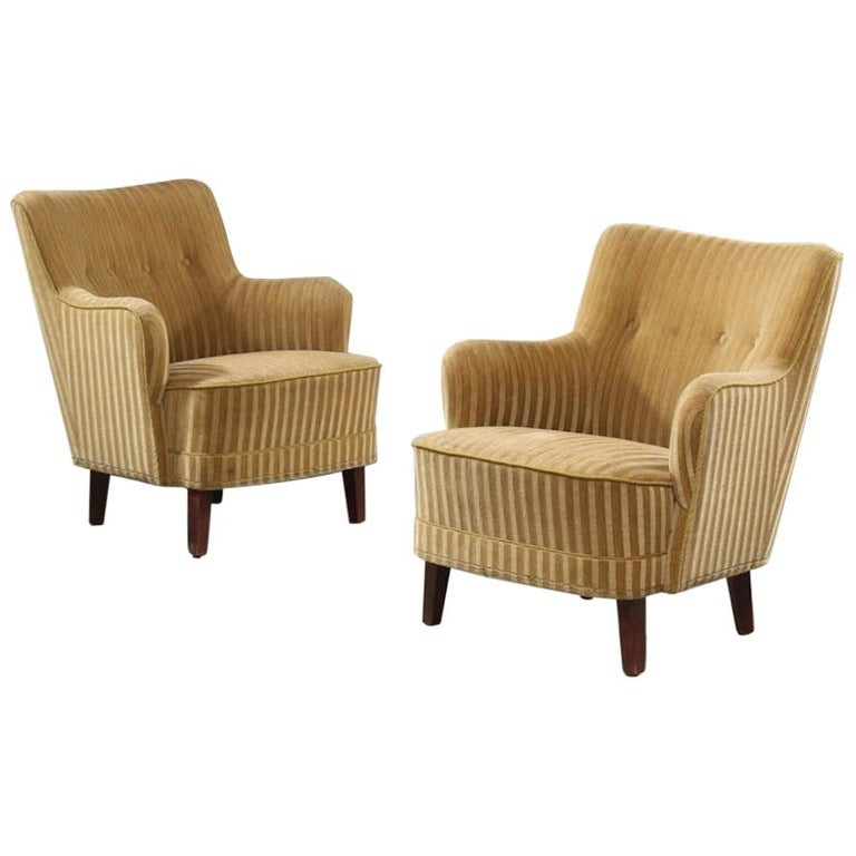 Pair Of Danish 1940s Bergere Armchairs In Striped Mohair