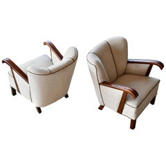 Pair of Danish 1940s Easy Lounge or Club Chairs Attributed to Fritz Hansen