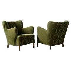 Pair of Danish 1940s Fritz Hansen Model 1669 Style Lounge Chairs