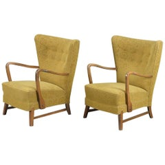 Pair of Danish 1940s Midcentury Fritz Hansen Style High Back Lounge Chairs