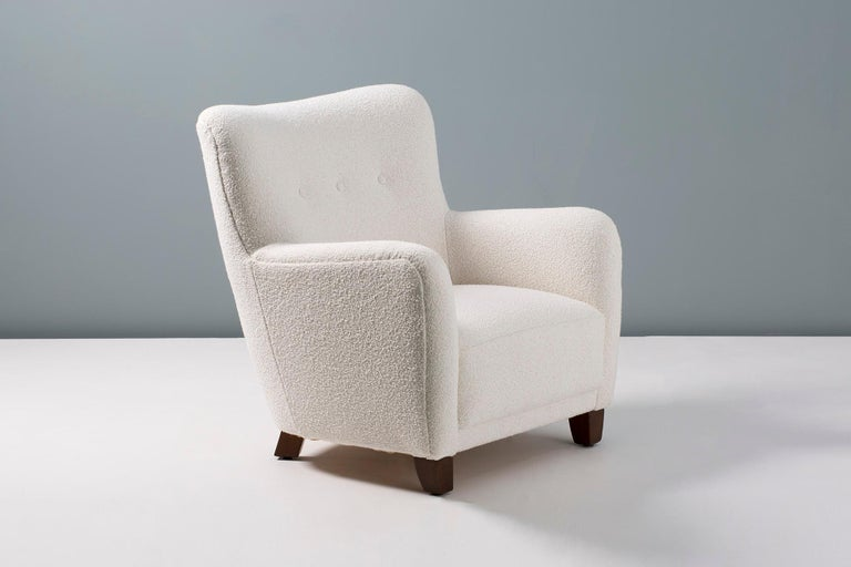 British Pair of Danish 1940s Style Custom Made Boucle Armchair For Sale