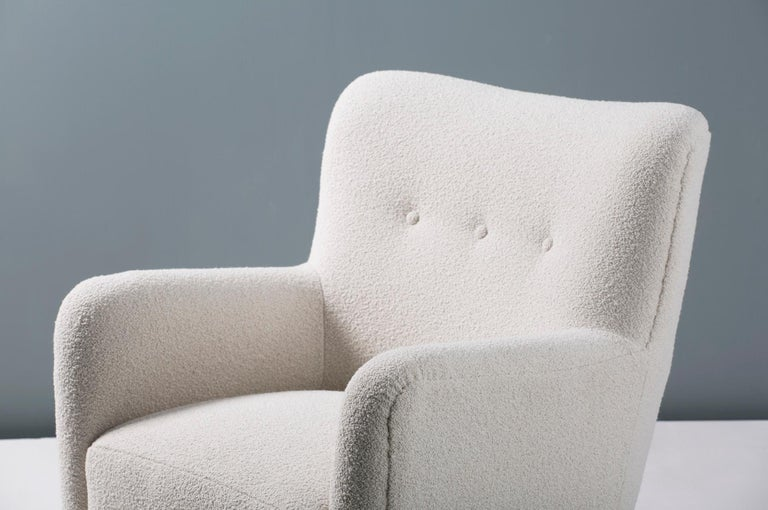 Contemporary Pair of Danish 1940s Style Custom Made Boucle Armchair For Sale