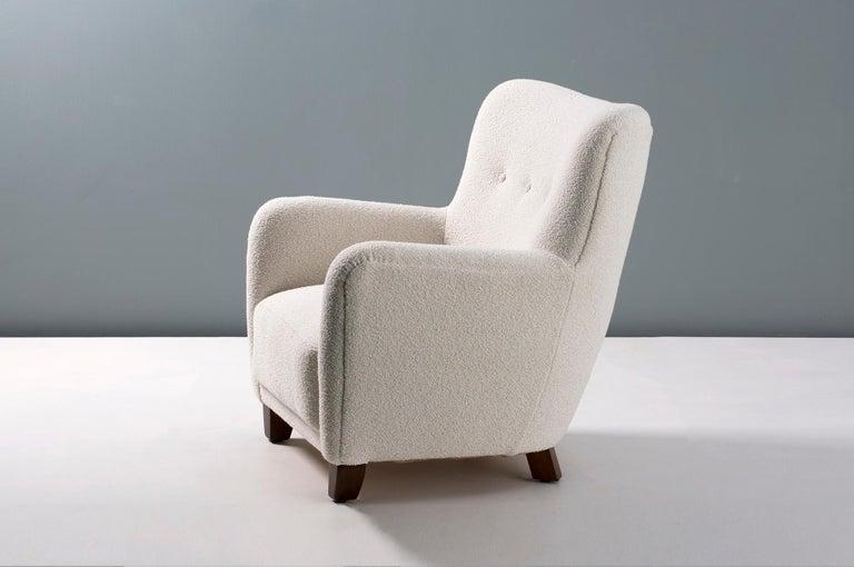 Oak Pair of Danish 1940s Style Custom Made Boucle Armchair For Sale