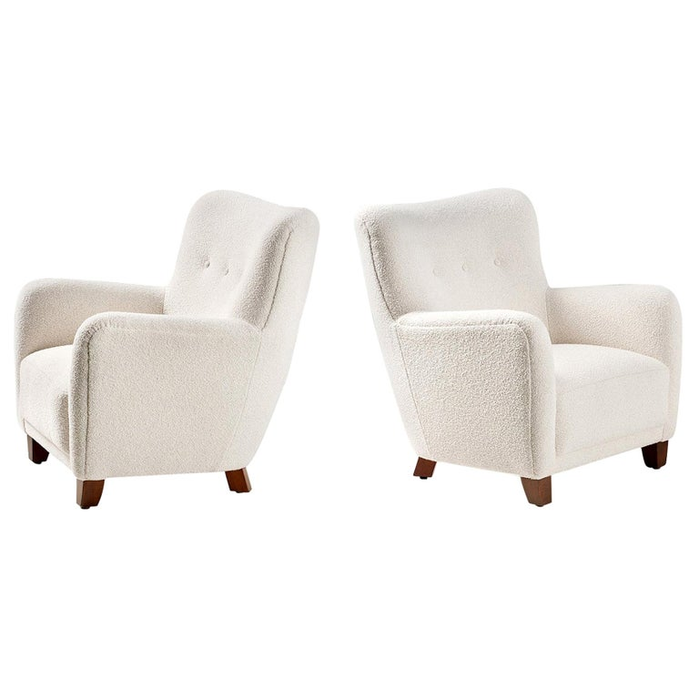 Pair of Danish 1940s Style Custom Made Boucle Armchair For Sale
