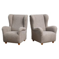 Pair of Danish 1940s Style Large Scale High Back Lounge Chairs