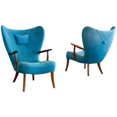 Pair of Danish 1950s High Back Lounge Chairs Model Pragh by Madsen and Schubell