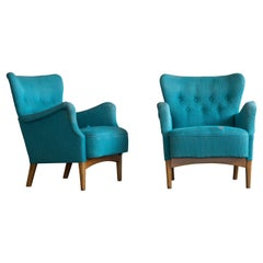 Pair of Danish 1950s Lounge Chairs by Fritz Hansen