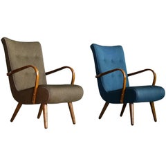 Pair of Danish 1950s Sculptural Lounge Chairs with Curved Wooden Armrests