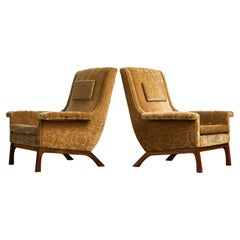 Pair of Danish 1960's DUX Style Lounge Chairs in Velvet and Rosewood