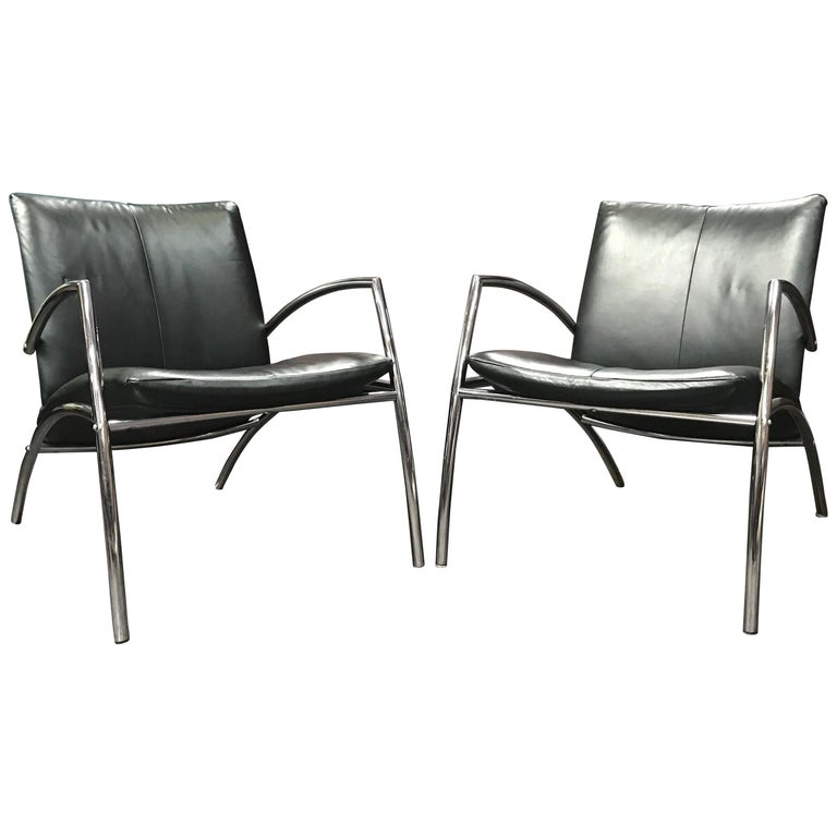 Terrific Pair Of Danish 1980S Leather And Chrome Sit Chairs By Kebe Theyellowbook Wood Chair Design Ideas Theyellowbookinfo