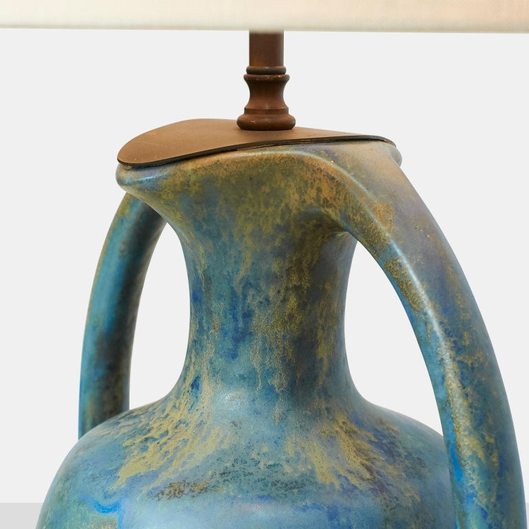 Pair of Danish Amphora Shaped Pottery Lamps For Sale 1