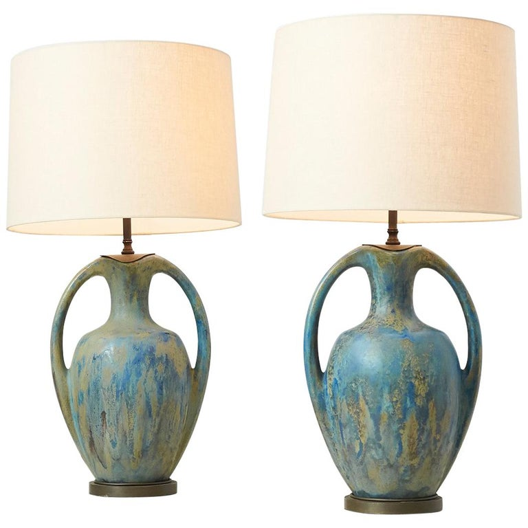 Pair of Danish Amphora Shaped Pottery Lamps For Sale