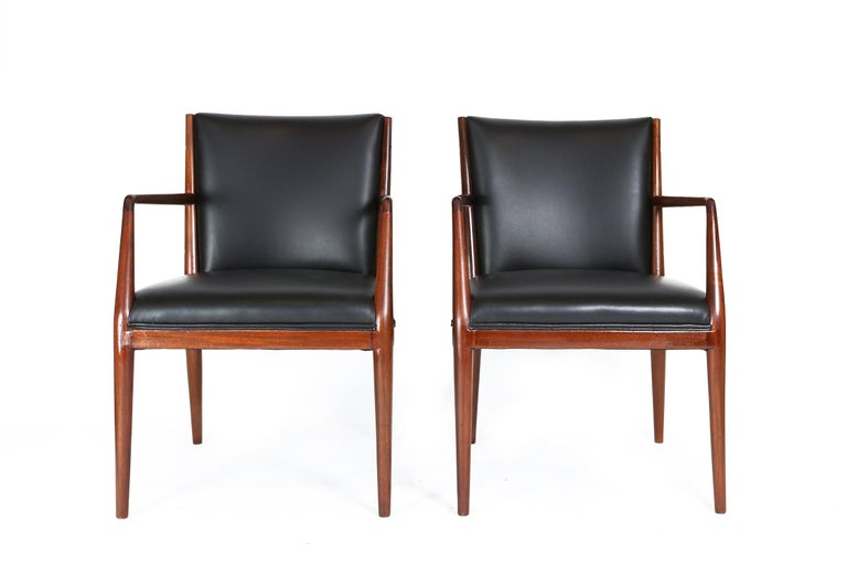 Pair of Danish armchairs, beautiful restored, repolished wood and new high quality leather.