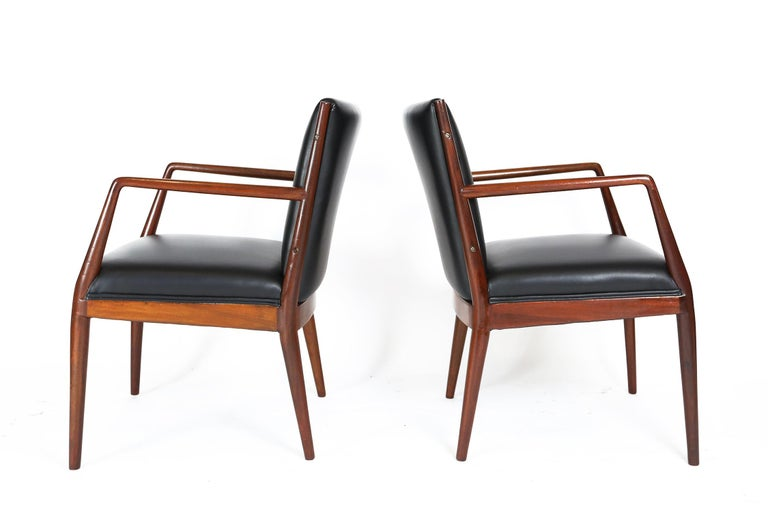 Mid-Century Modern Pair of Danish Armchairs in Mahogany Wood and Leather Seating, 1960s For Sale